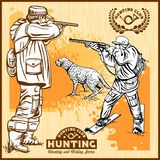 Hunters With Dogs - Retro Clipart Illustration - vector set stock illustration