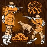 Hunters With Dogs - Retro Clipart Illustration - vector set vector illustration