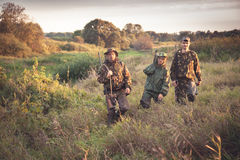 Hunters going through tall garass in rural field at dawn during hunting season Royalty Free Stock Image