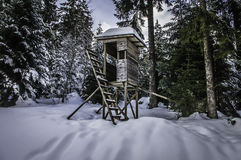 Hunters Hideaway. A hunters hide, hut in the snow near Mummelsee in the German Black Forest Stock Photography