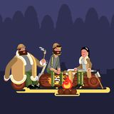 Hunters near fire. Hunters  on color background. Hunters vector icon illustration Stock Image
