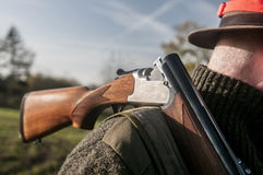 Hunters rifle. Hunter holds a hunting rifle Stock Images