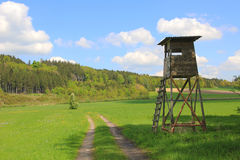 Hunters seat and pasture, german landscape Stock Photo