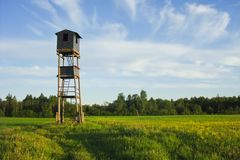 Hunters tower. With a hut on top in an evening field Stock Image