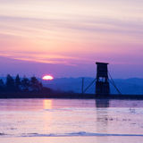 Lansdcape in winter at sunrise Royalty Free Stock Photography