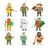 Hunters vector illustration cartoon style different gear huntsman characters aiming man ammunition weapon people. Wild shooter leisure funny gunner person royalty free illustration
