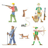 Hunters. Vector images set. Hunters with gun and bow Stock Photo