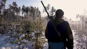 Hunters in the Woods. Armed Rangers in winter forest stock video footage
