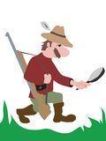 Hunting. Man hunting and searching. Vector Royalty Free Stock Photos