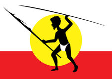 Hunting aboriginal man. One hunting aboriginal man on red and white background Royalty Free Stock Photos