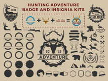 Hunting and adventure badge logo element kits Royalty Free Stock Photos