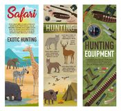 Hunting African safari, hunter ammo and animals. African Safari hunting, forest hunt and savanna animals trophy with hunter ammo. Vector elephant, zebra or vector illustration