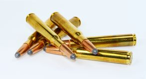 Hunting ammunition isolated on white. Background Royalty Free Stock Images