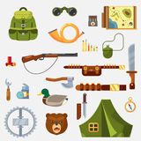 Hunting animal wild life leisure tackle and equipment icons set with rifle knive tent and survival kit isolated  illustratio Royalty Free Stock Image