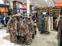 Hunting apparel for sale. South Plainfield, NJ, 02/17/2018: Hunting apparel on the floor of a Dick`s Sporting Goods store Stock Image
