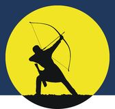 Hunting archer at dawn. Archers hunting at dawn. Sports competitions in archery. Logo for the archer Royalty Free Stock Image