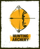 Hunting Archery Outdoor Activity Sign concept. Creative Vector Design Elements On Distressed Background. Royalty Free Stock Photos
