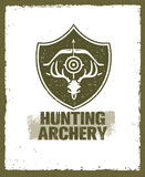 Hunting Archery Outdoor Activity Sign concept. Creative Vector Design Elements On Distressed Background. Stock Image