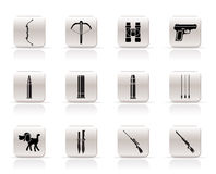 Hunting and arms  Icons Royalty Free Stock Images