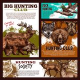 Hunting banner with wild animal and bird sketch. Hunting banner template with wild animal and bird sketch. Forest deer, duck and bear, wolf, reindeer and elk Royalty Free Stock Photo