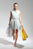 Hunting for bargains - woman shopping . Happy woman - a successful shopping . Young, attractive girl in a summer dress with a large bag purchasing Stock Photography