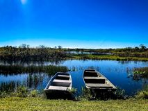 Two swamp boats. Hunting boats on the levee of a swamp shore Stock Photo