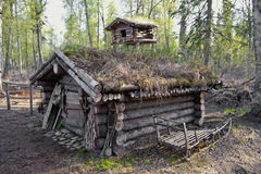 Hunting cabin in forest royalty free stock photos