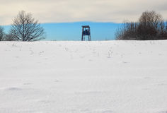 Hunting cabin. Hunting tower - deer stands in winter Stock Photography