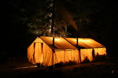 Hunting Camp. Elk hunting camp at night in Montana Stock Photo