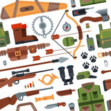 Hunting camping outdoor time vector seamless pattern background with guns.  Stock Photos