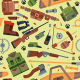Hunting camping outdoor time vector seamless pattern background with guns.  Stock Image