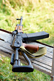 Hunting carbine. Saiga on the bench Royalty Free Stock Images
