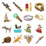 Hunting cartoon icons. Set isolated on white background Stock Photos