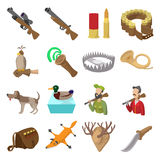 Hunting cartoon icons Stock Photos