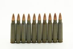 The hunting cartridges. On a white background Stock Photos