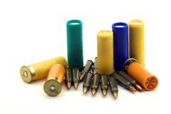 The hunting cartridges. On a white background Royalty Free Stock Photos