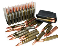 Hunting cartridges of caliber  .308 Win. Caliber rifle cartridges .308 Win with a bimetallic shell by a bullet. Cheap mass production of cartridges have high Royalty Free Stock Photography