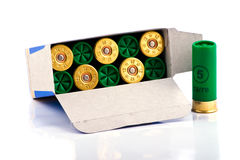 Hunting cartridges for shotgun. 12 caliber in a box Stock Image