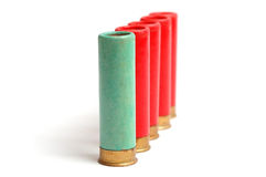 The hunting cartridges on the white. The hunting cartridges of 16 calibres on the white royalty free stock photos