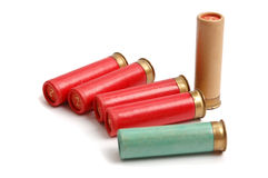 The hunting cartridges on the white. The hunting cartridges of 16 calibres on the white stock image