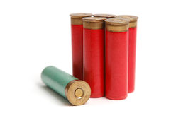 The hunting cartridges on the white. The hunting cartridges of 16 calibres on the white royalty free stock photo