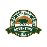 Hunting club badge with wild boar and forest Stock Photo