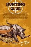 Hunting club banner with target and african animal. Hunting club banner with shooting target and african safari animal. Rhino, antelope and jaguar, duck, deer Stock Photo