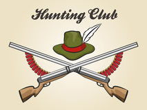 Hunting Club Emblem. With hunting rifles cartridges and hunter hat. Vector illustration in vintage style Royalty Free Stock Photography