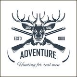 Hunting club vector icon elk hunt adventure hunter gun rifle open season. Hunting club or hunt adventure logo template. Vector isolated icon of wild elk antlers Royalty Free Stock Photos