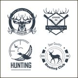Hunting club or hunt adventure logo templates set. Vector isolated icons of hunter rifle gun and retro horn for animal hunting open season badge of deer or elk stock illustration