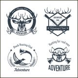 Hunting club or hunt adventure logo templates set. Vector isolated icons of hunter rifle gun and retro horn for animal hunting open season badge of deer or elk Stock Images
