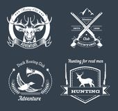 Hunting club or hunt adventure logo templates set. Vector isolated icons of hunter rifle gun and retro horn for animal hunting open season badge of deer or elk Stock Photos