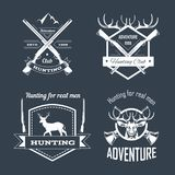 Hunting club or hunt adventure logo templates set. Vector isolated icons of hunter rifle gun and retro horn for animal hunting open season badge of deer or elk Royalty Free Stock Photo