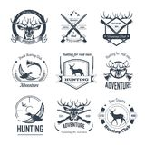Hunting club icons hunt adventure hunter gun rifle open season wild animal. Hunting club or hunt adventure logo templates set. Vector icons of hunter rifle gun royalty free illustration